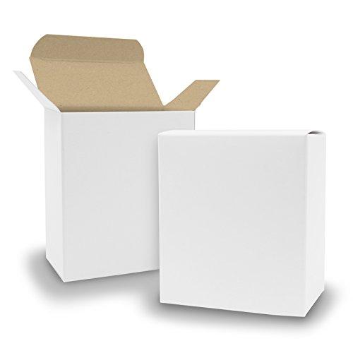itenga - 25 scatole pieghevoli in cartone kraft, 8 x 4 x 9 cm, colore esterno bianco, interno marrone, da riempire (matrimonio) Calendario dell'Avvento. battesimo. Compleanno. Regalo Comunione)