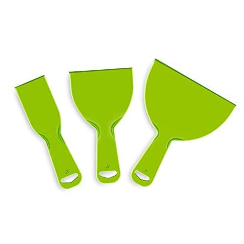3 Stück Kunststoff Spachtel, VOSSOT 3D Druck Spachtel Messer, Malerspachtel Spachtel Set, Malen Schaber Werkzeug für Glätten Aufkleber Tapeten Backen Auto Kitt Spackeln Patchen(Grün)