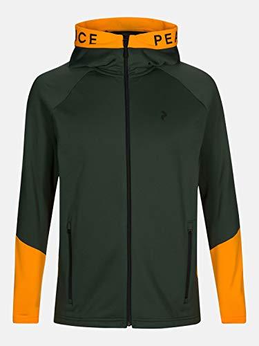 Peak Performance M Rider Zip Hood Grün-Orange, Herren Isolationsjacke, Größe S - Farbe Drift Green - Explorange