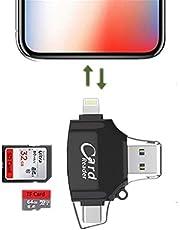XKING スマホ パソコン データ保存 カードリーダー iPhone?Android対応 メモリーカードリーダー iOS/Micro USB全対応メモリーカードリーダー Lightning iPhone/iPad/Android/コンピュータ用 SD/TFカードリーダー 高速に寫真とビデオ保存高速転送 microメモリSDカードリーダー (黒)