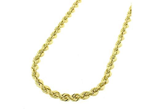 14K Gold 2.5MM 3MM 4MM Diamond Cut Rope Chain Necklace for Men and Women- Braided Twist Chain Necklace, 14K Necklace, 14K Rope Chain, 14K Gold Chain (18, 3MM)
