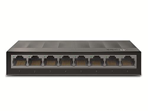 TP-Link LS1008G 8-Port Desktop Switch (8 x Gigabit Auto-Negotiation RJ45 Ports, IEEE 802.3x, Plug and Play, energiesparend, Plastikgehäuse für einfache Tisch- oder Wandmontage)schwarz