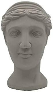 Portrait Sculpture Beauty Fairy Flower Pot Greek Goddess Lady Face Flower Arrangement Vase Cement Rough Head Vase Home Decor (Venus Big Cement A)