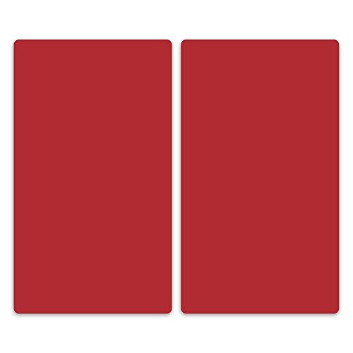 decorwelt | Herdabdeckplatten 2x30x52 cm Ceranfeldabdeckung 2-Teilig Universal Elektroherd Induktion für Kochplatten Herdschutz Deko Schneidebrett Sicherheitsglas Spritzschutz Glas Rot