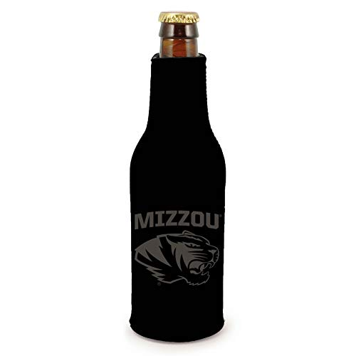 Missouri Tigers 2-Pack Tonal Black Design Zipper Bottle Neoprene Beverage Insulator Holder University of