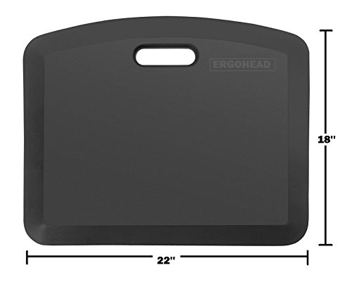 Original Ergohead Anti-Fatigue Comfort Standing Mat, Ergonomically Engineered, Perfect for Standing Desk, Kitchen, Gardening and Garages, 18 x 22 inches, Black
