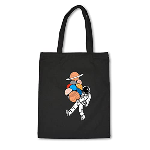 ZHANGYY Niedliche Cartoon Einkaufstasche Leinwand Vintage Astronaut Planet Seriendruck Täglichen Gebrauch Eco Wiederverwendbare Einkaufstasche Schulter Ästhetische Taschen-C38-4Black