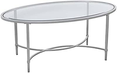b53fb709320 Southern Enterprises Quinton Oval Glass Top Coffee Table in Silver