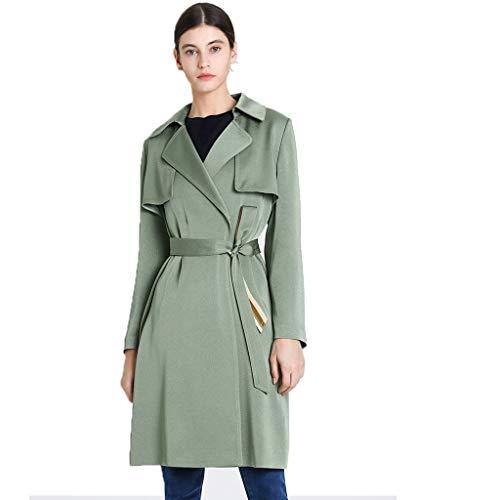 Mantel Frühlings- Sommerfrauen-Windjacke Mintgrüner Dünnschichtmantel Mittellanger Windjacke Slim Fit-Taillenmantel Windjacke (Color : Green, Size : 10)