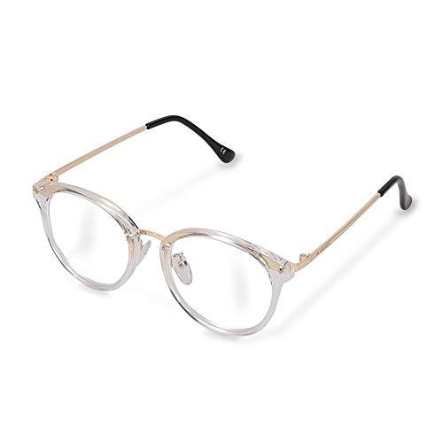 Navaris Gafas con bloqueo de luz azul - Gafas anti fatiga retro sin graduar con cristal transparente y filtro de blue light - Para mujer hombre unisex