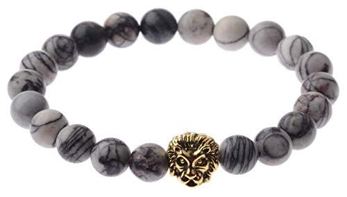 KEKEYANG Pulsera de piedra para mujer, 7 chakras, piedras naturales, pulsera de mármol gris, elástica de león dorado, joyería de animales, pulseras de yoga ilimitadas