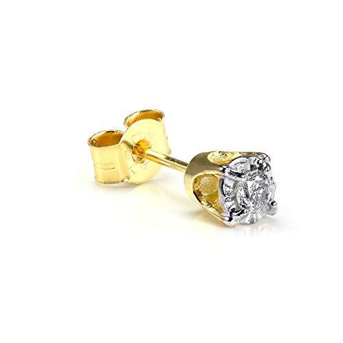 9K Gold 0.05K Diamant Viereck Männer Ohrstecker Ohrring