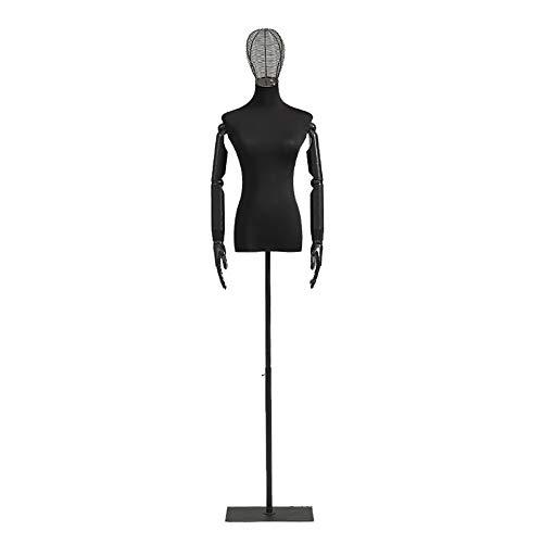 SSZY Maniqui Costura Modista Busto Torso de Cuerpo de Maniquí de Forma Femenina, con Cabeza de Malla de Brazos de Madera, Maniquí Negro de Torso Superior para Vestidos de Suéteres, Altura Ajustable