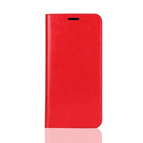 Sunrive Für Xiaomi Redmi S2, Echt-Ledertasche Schutzhülle Hülle Standfunktion Flip Lederhülle Hülle Handyhülle Schalen Kreditkarte Handy Tasche(rot)