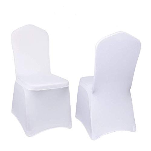 Stretch Polyester Spandex Dining Folding Chair Cover Wedding Party Use,White (100)