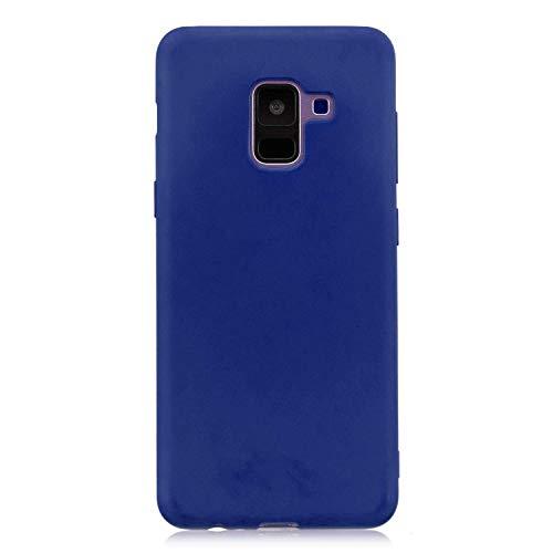 cuzz Funda para Samsung Galaxy A6 2018+{Protector de Pantalla de Vidrio Templado} Carcasa Silicona Suave Gel Rasguño y Resistente Teléfono Móvil Cover-Azul Oscuro