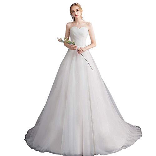 Trouwjurken voor bruiden Strapless Trein Bruidsjurken Vrouwen Quinceanera Jurken voor bruiloft, W-D, Wit, Medium