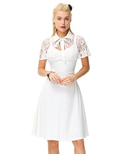 Damen 1950er Vintage Kleid Knielang Spitzenkleid A-Linien Cocktailkleid Elfenbein M
