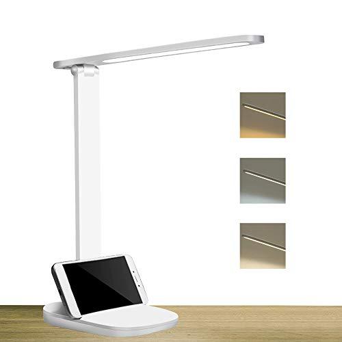 Lámpara Escritorio LED,Lámpara de Mesa Flexo de Escritorio 3 Niveles de Brillo 3 Modos,USB Recargable Lámpara de Escritorio Control Táctil Bajo Consumo Plegable Luz para Leer,Estudiar,Cuidado de ojos