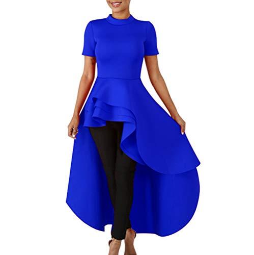 Annystore High Low Tops for Women - Ruffle Short Sleeve Bodycon Peplum Shirt Dresses Blue