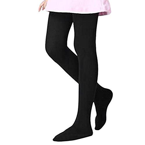 Collant Bébé Automne Hiver Super Chaud Collants en Coton Epais Legging Résistant Sans Couture Peau-serré Pieds Opaque Jambière Danse Yoga Bas Douce Confortable pour Enfants Filles 5-8 ans-Noir