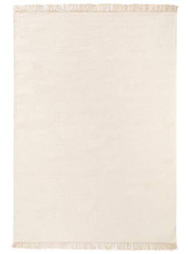 Benuta Wollteppich Liv Cream 140x200 cm - Naturfaserteppich aus Wolle
