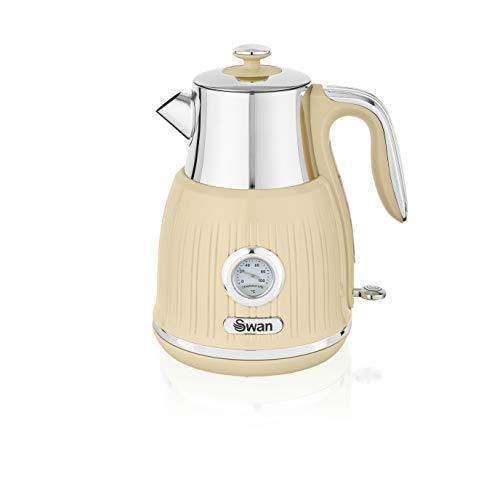 Swan SK31040CN Bouilloire rétro avec cadran de température, base rotative à 360 degrés, en acier inoxydable, 3000 W, 1,5 litre, crème