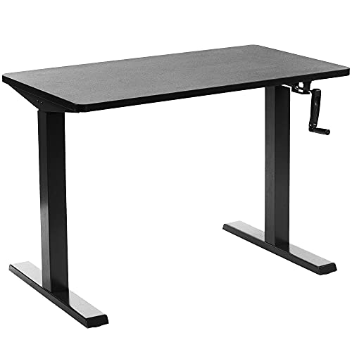 VIVO Manual Height Adjustable 43 x 24 inch Stand Up Desk, Black Solid One-Piece Table Top, Black...