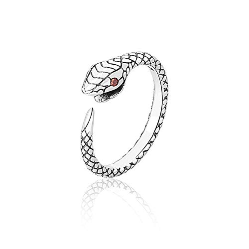 BOSAIYA S925 Sterling Silver Lindo Little Serpiente Anillo Femenino Apertura Personalidad Ajustable Niche Design Network Red Red Refrescing Dedo Anillo TL0221 (Color : Platinum)
