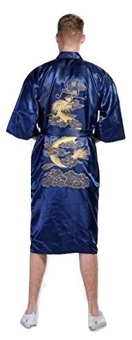 Bata de baño de Yukata Hakma, Secret Collection, estilo Kimono con dragón bordado, vintage Negro azul XX-Large