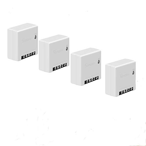Snowsound 4 Pack Wi-Fi Smart Switch MINI Modulo telecomando fai-da-te Interruttore intelligente a due vie Supporta switch esterno Timing Voice Control Funziona con Alexa e Google Home