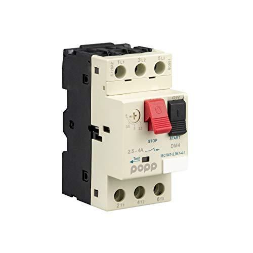 POPP® Electric Interruptor de protección del motor Disyuntor del motor 3P 3P, Campo de Regulación de 2.5 a 4A y 4-6.3A (DM4)