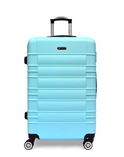 SHAIK SerieCLASSIC JFK Design Hartschalen Trolley, Koffer, Reisekoffer 4 Doppelrollen Zwillingsrollen, Zahlenschloss (Handgepäck, Himmelblau)