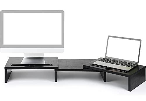 LORYERGO Monitor Soporte Madera Elevador Con Longitud y Ángulos Ajustables 2 ranuras funcionales adicionales Organizador de escritorio PC ordenador portátil Impresora