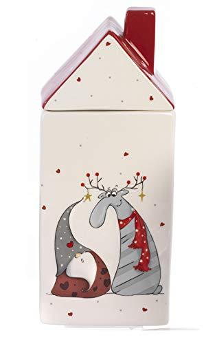 Paben Noel Boîte à biscuits de Noël en forme de maison avec décoration Gnomo Renne en céramique