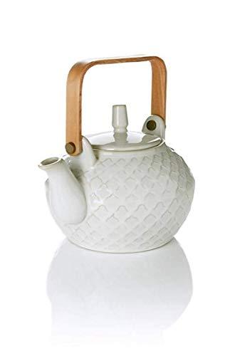 Unbekannt Teekanne Felicia 800 ml aus Steinzug Tee Kanne mit Bambushenkel NEU