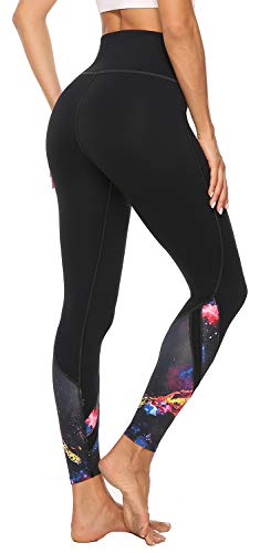 AFITNE Women's High Waist Printed Yoga Pants with Pockets, Tummy Control Non See-Through 4 Way Stretch Athletic Yoga Leggings