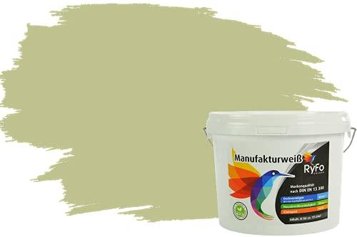 RyFo Colors Bunte Wandfarbe Manufakturweiß Pistazie 3l - weitere Grün Farbtöne und Größen erhältlich, Deckkraft Klasse 1, Nassabrieb Klasse 1