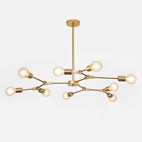 Dellemade Sputnik Kronleuchter,9-Licht Globus Pendelleuchte für Esszimmer, Wohnzimmer, Küche, Büro, Café, Restaurant,LED Glühbirnen Enthalten (Golden)