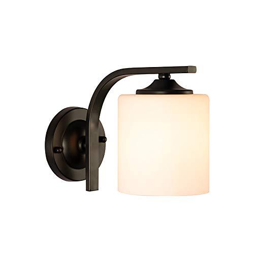 Eco Memos Apliques de Pared Lámpara de Pared de Estilo Contemporáneo del Norte de Europa Iluminación de Tocador de Baño Industrial con Pantalla de Vidrio para Pasillo de Dormitorio (Negro-1)