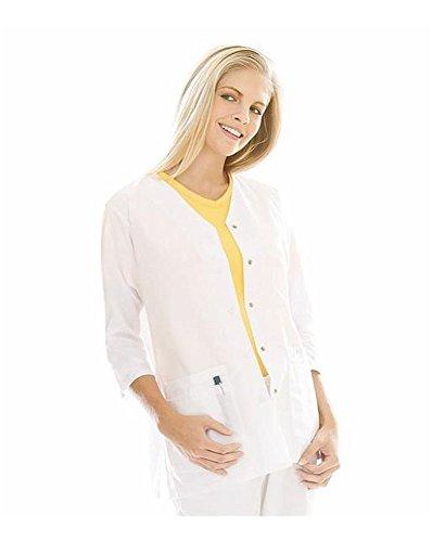 Landau 'Women's 3/4 Sleeve Tunic Jacket' Scrub Top White X-Small