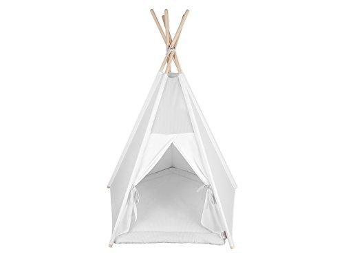 KraftKids Spielzelt-Tipi kleine Blätter hellgrau auf Weiß, Indianer-Zelt zum Spielen für Kinder, Kleinkinder und Babys, inkl. Spielmatte