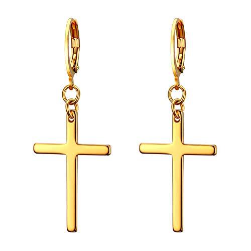 JewelryWe Schmuck Unisex Creolen, Edelstahl Klassisches Kreuz Ohrringe Ohrstecker Ohrhänger Ohr-Piercing für Herren Damen, Gold
