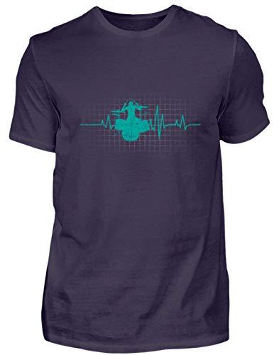 Shirtee Baterista Pulso La Batería Latido del Corazón Instrumento Musical Música - Camiseta de Hombre -L-Berenjena