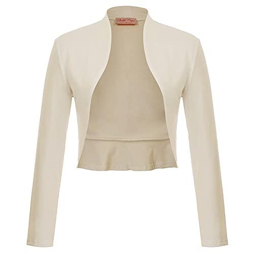 Belle Poque Vestido de Fiesta de Noche Elegante Superior de Oficina para Mujer Shrug Bolero Champagne-6 S
