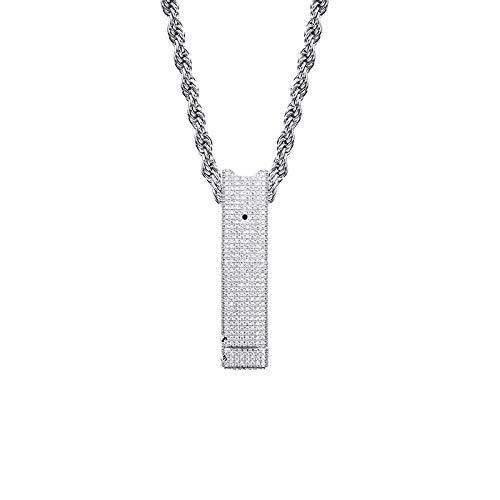 Hip Hop gefror heraus Juul Fall elektronische Zigarette hängende Halskette Mikro pflastern KubikZircon Charm Schmuck für Männer und Frauen-Geschenk,Silber
