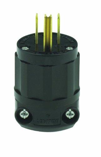 Leviton 5266-B 15 Amp, 125 Volt, Straight Blade, Plug, Industrial Grade, Grounding, All Black