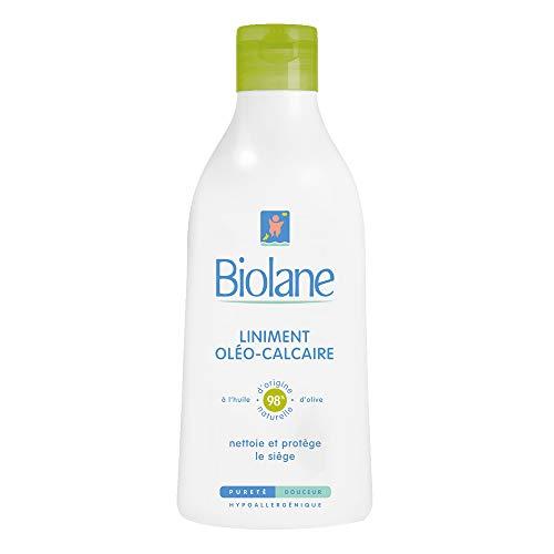 Biolane - Liniment Oléo-Calcaire - Nettoyant à base d'huile d'olive et d'eau de chaux pour le siège des bébés - Sans rincer - 300 ml