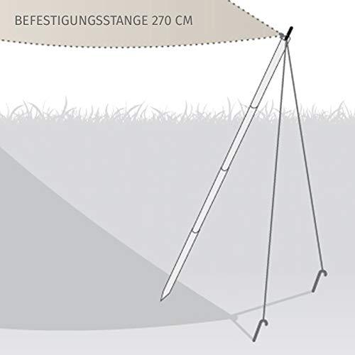 HORI® Sonnensegel I Sonnenschutz, Sonnendach, Windschutz für Balkon I Nur Befestigungsstange I Befestigungsstange 270 cm