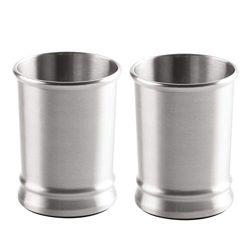 mDesign Modern Round Metal Tumbler Cup for Bathroom Vanity Countertops for Rinsing, Drinking, Storing Dental Accessories and Organizing Makeup Brushes, Eye Liners - 2 Pack - Brushed